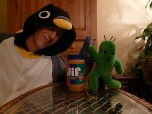 Penguin Kigurumi, Cactaur and peanut butter!